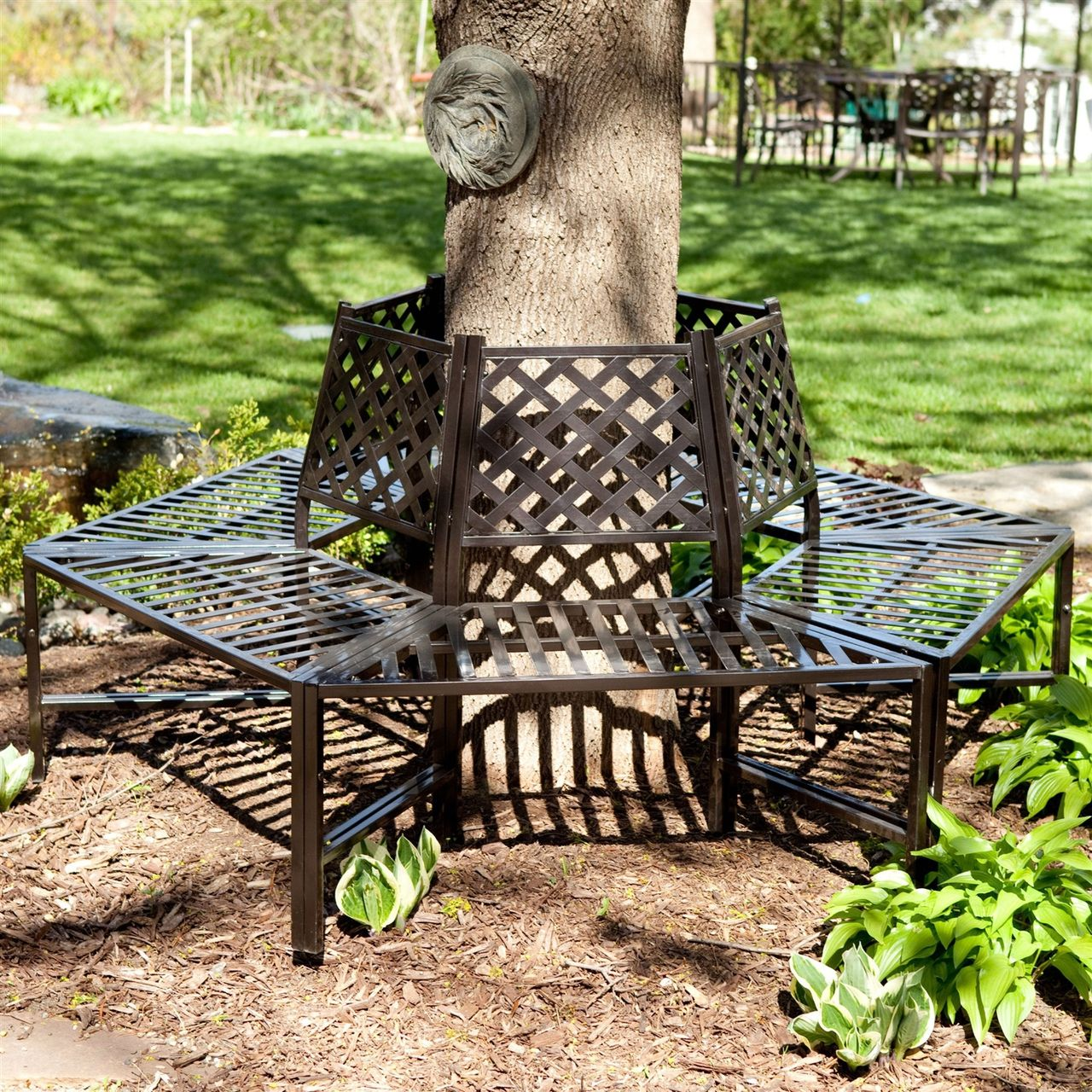 Classic Outdoor 6 Sided Tree Bench In Powder Coasted Steel With