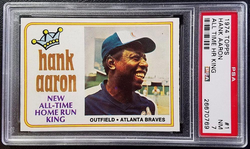 1974 Topps 1 Hank Aaron Home Run King PSA 7 NM Atlanta