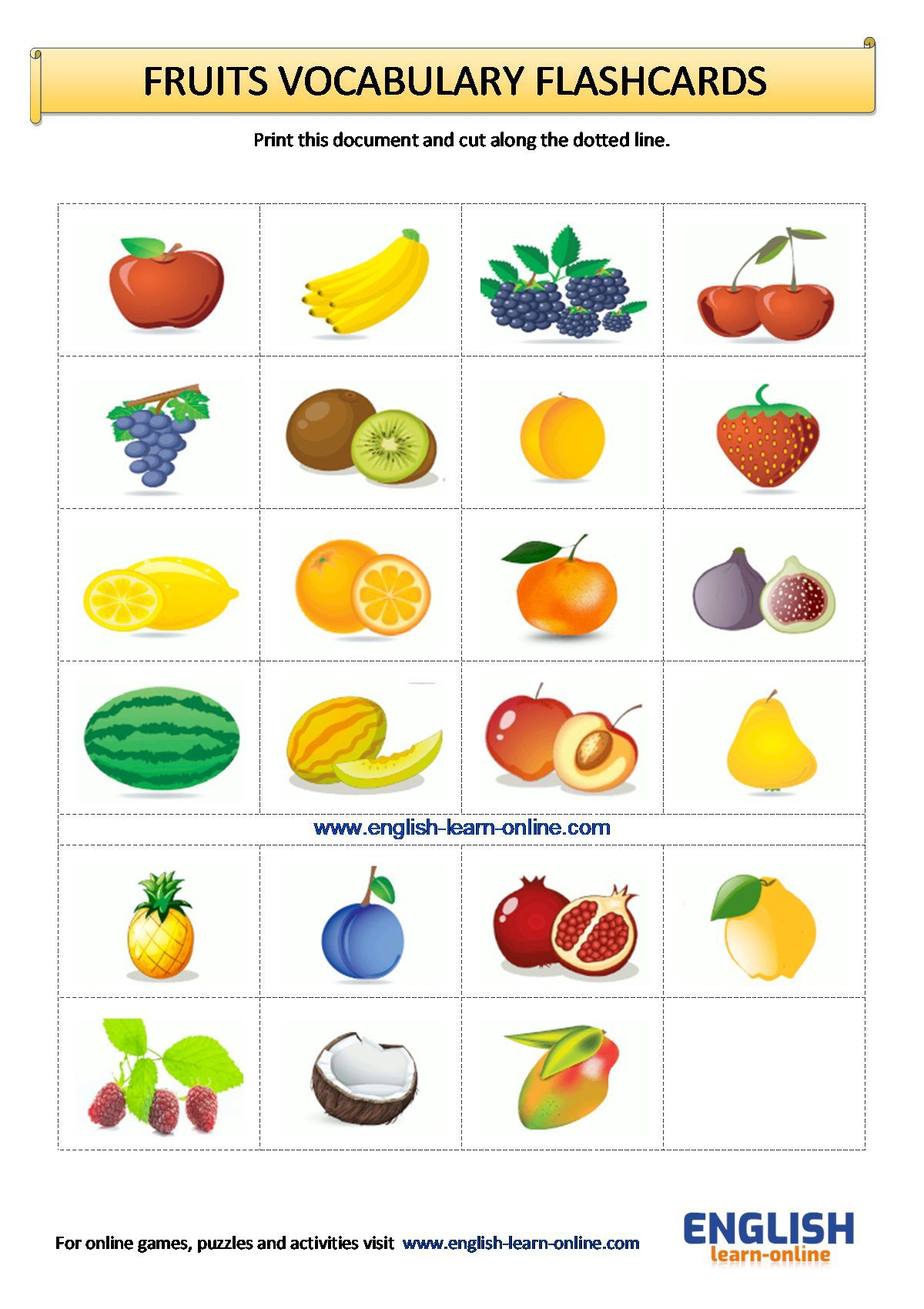 Fruits Vocabulary Flashcards Worksheet In