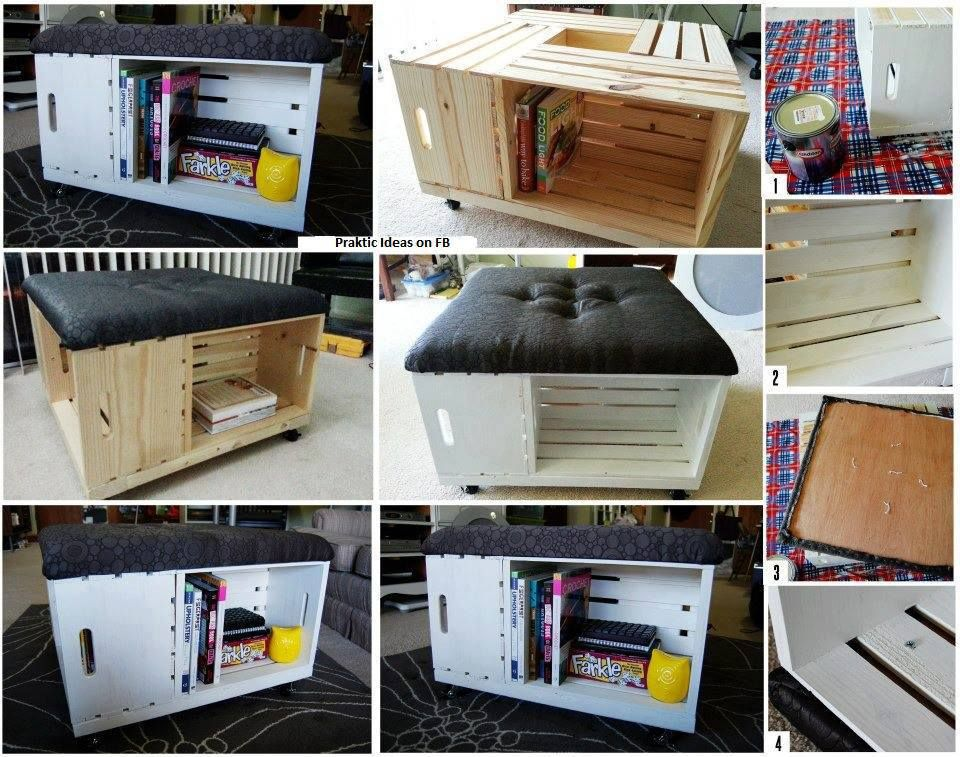 Puff / mesa de centro com caixotes