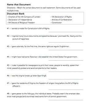 Name That Document Fundamental Documents Va Civics Economics