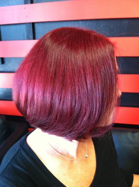 Beautiful low stack textured bob with violet red tones.. designed by Ingrid!!! #theCOLORbar #hairsalon #color #hair #beauty