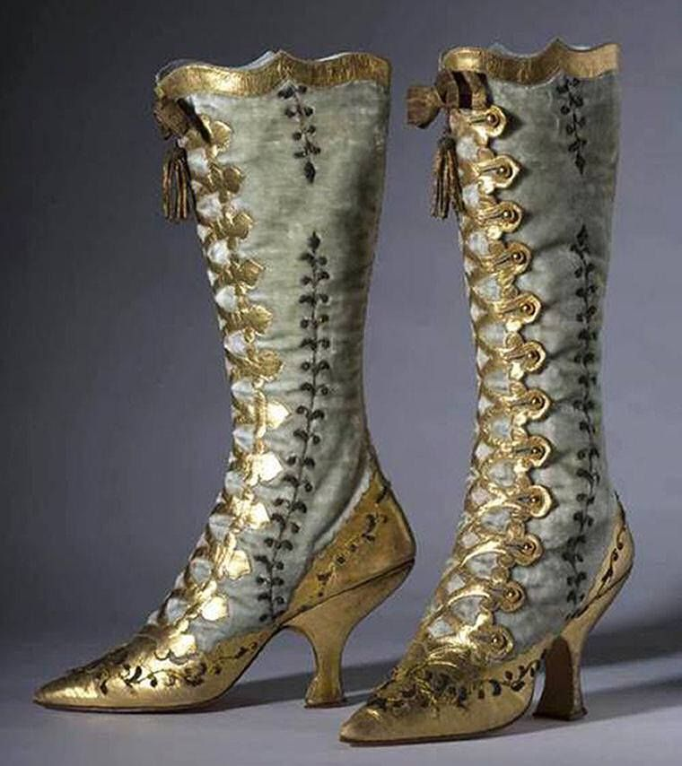 Velvet and gold leather button boots, 1870.