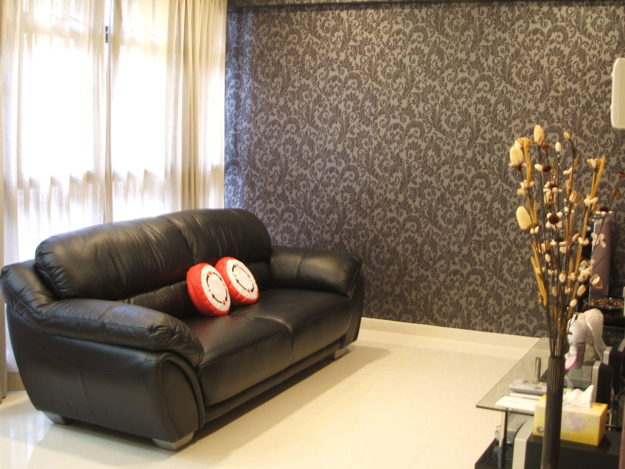 spelndid popular wallpaper designs. Engaging Living Room with Wallpaper Designs  Splendid Black Leather Loveseat Sofa Set Wheat