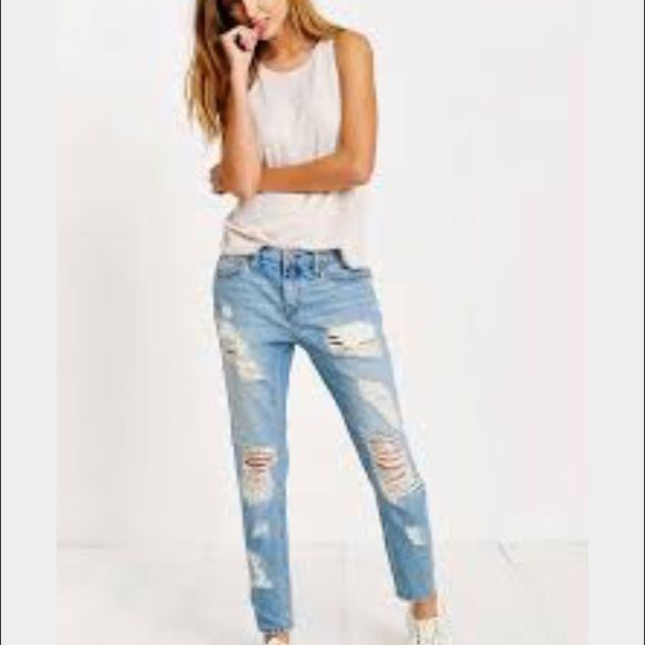 Urban outfitters destroyed slim boyfriend Urban outfitters BDG slim boyfriend jeans in slash. Size 26 but run pretty large I'm usually a 27/28. Very destroyed as each pair is a little different. The front pocket show through one of the holes just an FYI. Urban Outfitters Jeans Boyfriend