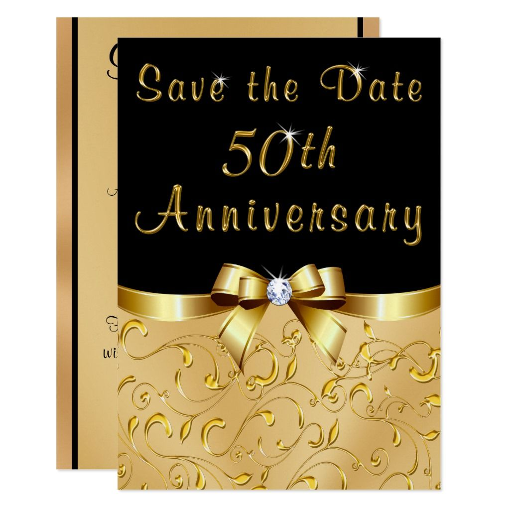 Black Gold Save The Date 50th Wedding Anniversary Invitation