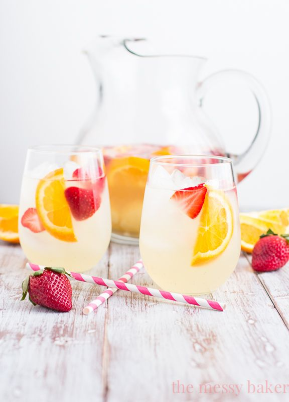 Fruity Pineapple Sangria: Sweet, fruity sangria made with bubbly white wine and mango pineapple vodka.