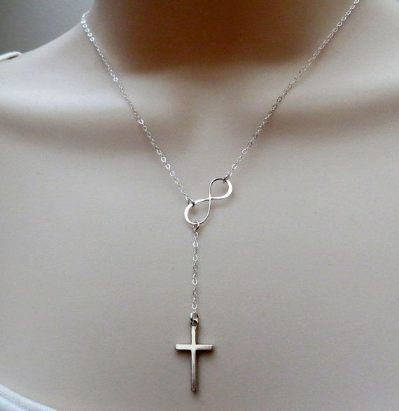 Infinity Cross necklace Infinity lariat necklace cross by NYmetals