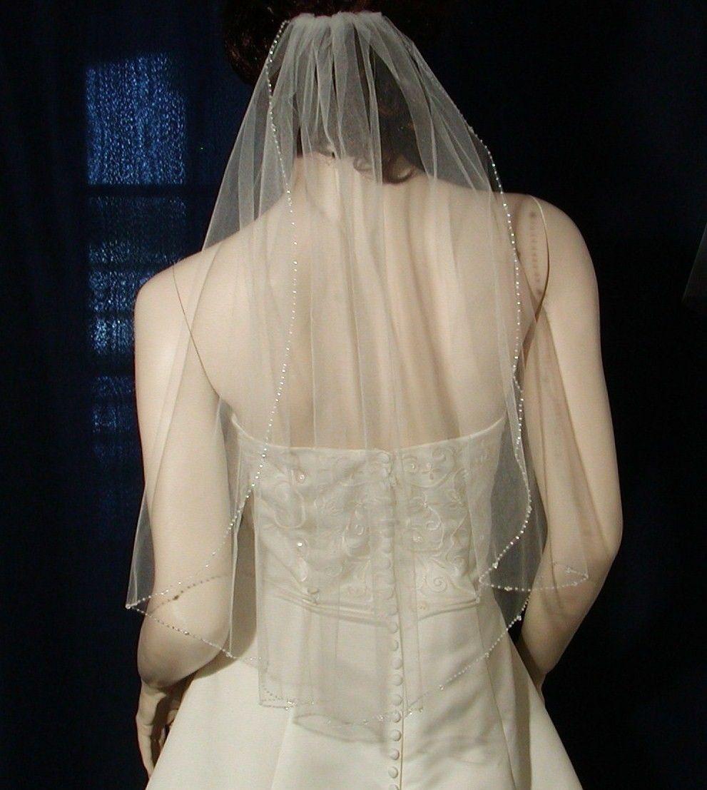 "Wedding Veils. Crystal Beaded Edge IVORY 25"" long Bridal"