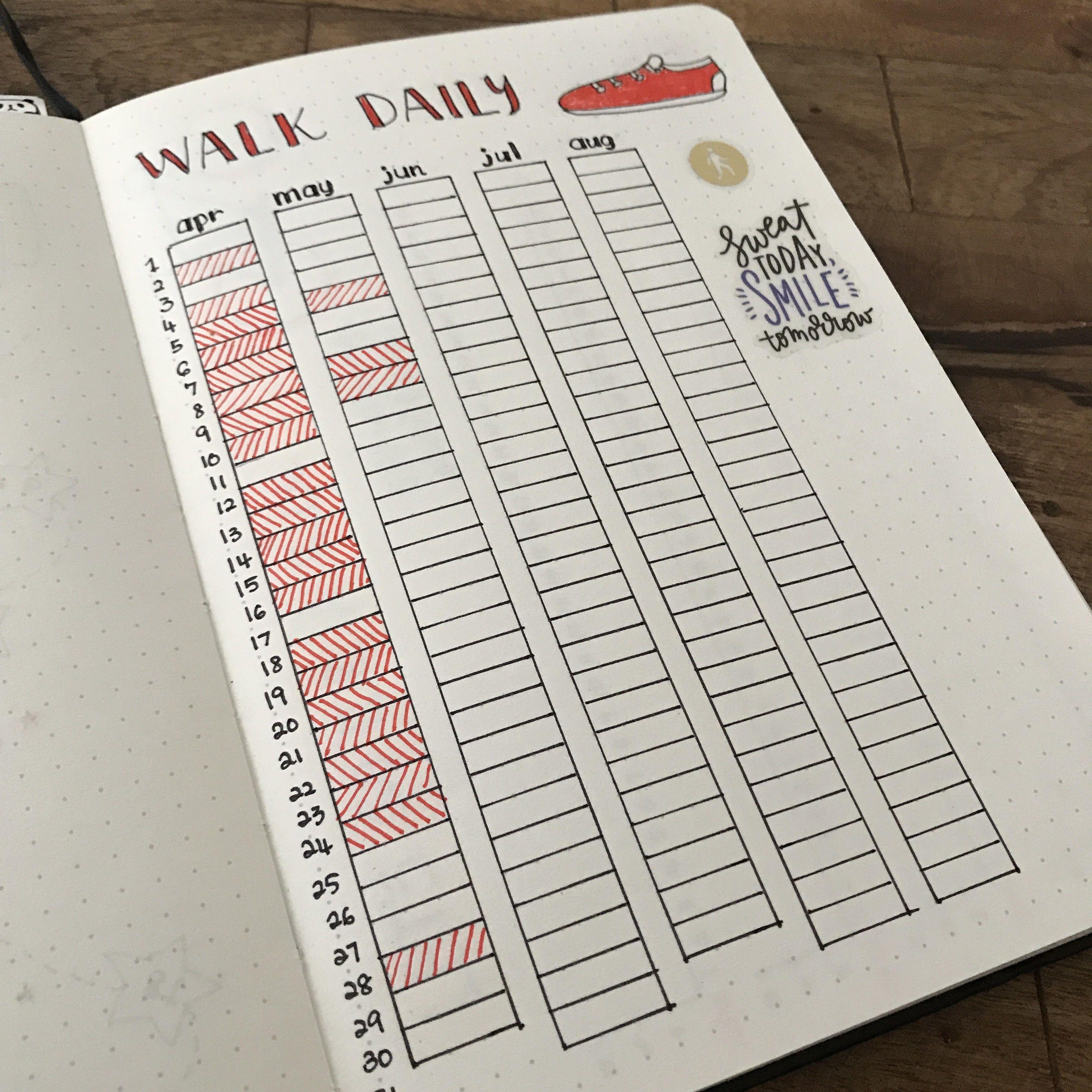daily activity tracker for bullet journal bujo