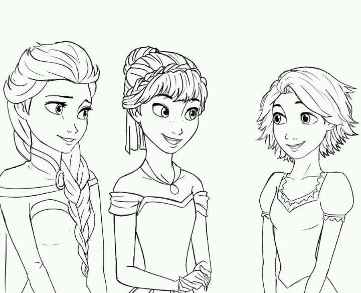 Coloring Pages For Rapunzel : Elsa anna and rapunzel. this would be a good coloring page for