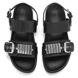 McQ Alexander McQueen Women's Rita Metal Bar Leather Double Strap Sandals - 148 F