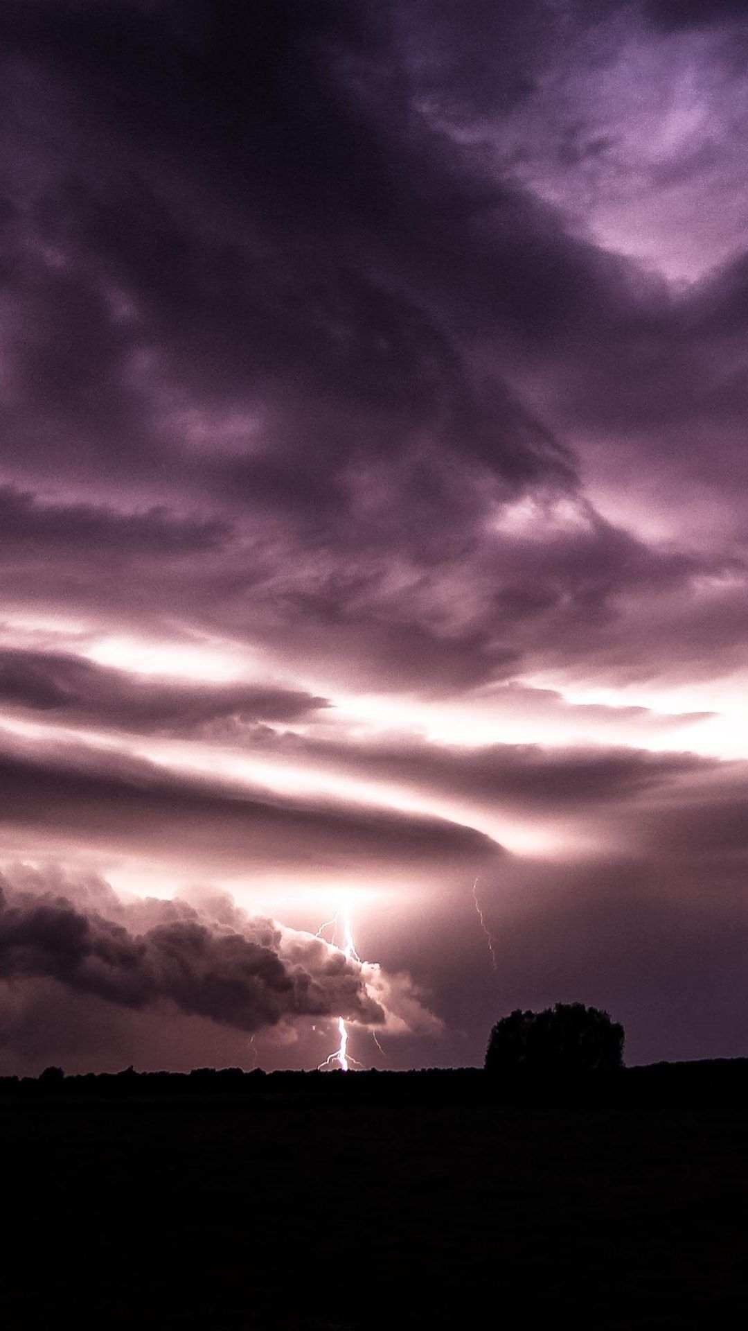 Purple Clouds Lightning Over Field iPhone 6 plus