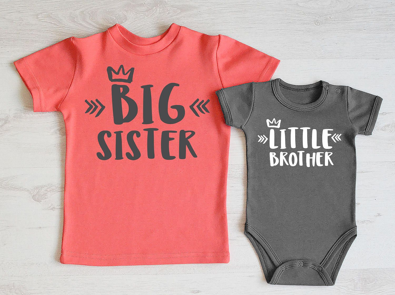 Sibling Shirts Set Big Brother//Sister T-Shirt /& Littler Brother//Sister Onesie Bodysuit Matching Outfit Set