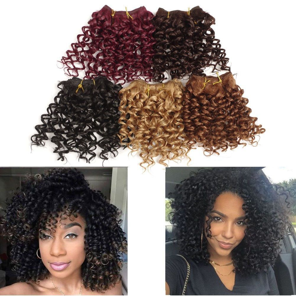 "8""Synthetic Hair Weft Malibob Afro Jerry Kinky Curl Crochet Hair Extensions 3Pcs"