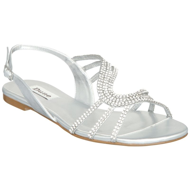 Formal Flat Silver Sandals For Wedding Leather Diamante Predominant Colour