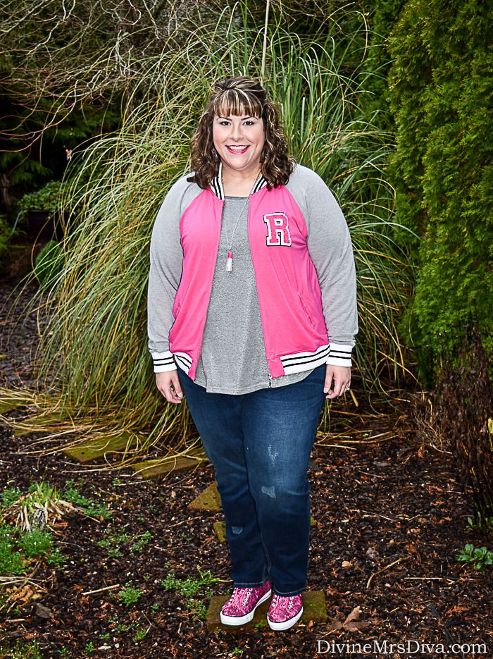 Hailey is wearing the Rebel for Torrid Varsity Jacket, Lane Bryant Silver Shimmer Pocket Tee, and Catherines Dark Wash Girlfriend Jeans. - DivineMrsDiva.com #Torrid #TorridInsider #LaneBryant #Catherines #ILoveCatherines #psblogger #plussizeblogger #styleblogger #plussizefashion #plussize #psootd #ValentinesStyle #plussizecasual