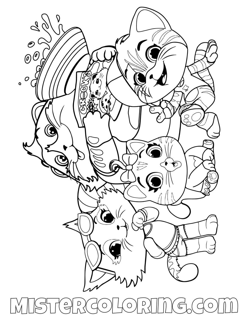 Milady Pilou Meatball And Lampo Posing 44 Cats Coloring Pages For Kids Cat Coloring Page Coloring Pages Coloring Pages For Kids
