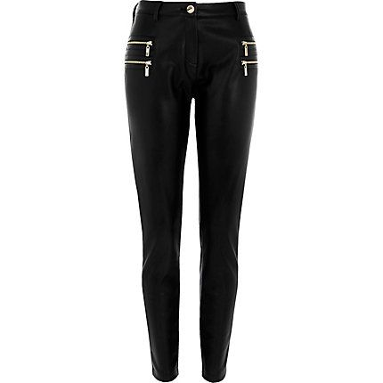 15a06937fa984b Black zip detail super skinny trousers $50.00   Clothes   Skinny ...