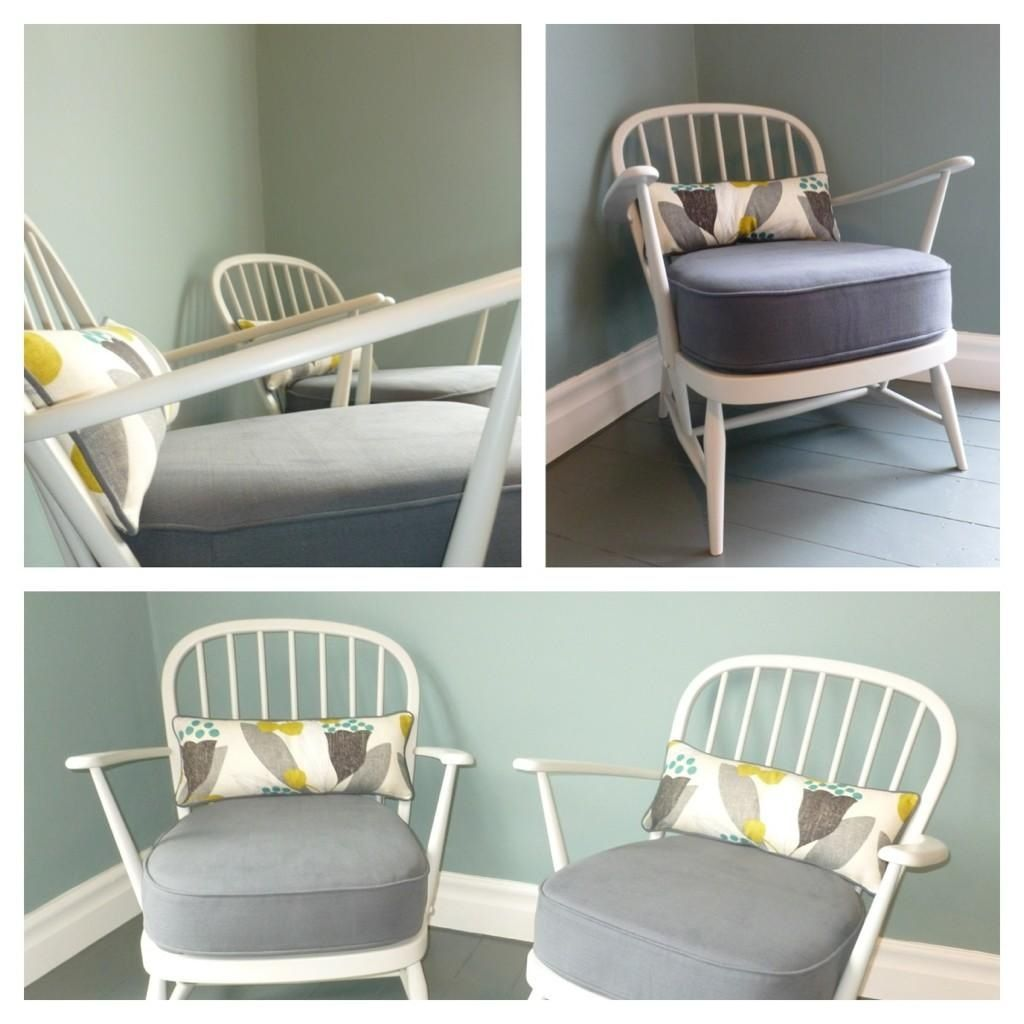 Ercol Windsor chairs with sanderson bellflower lumber cushions