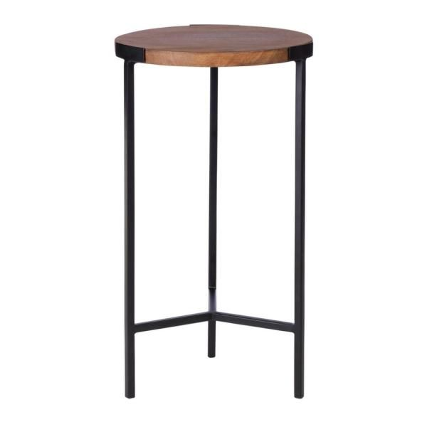 Stylewell Round Black Finish Metal End Table With Haze Finish Wood Top 12 In W X 21 5 In H Haze Black Metal End Tables Small Round Side Table Metal Side Table