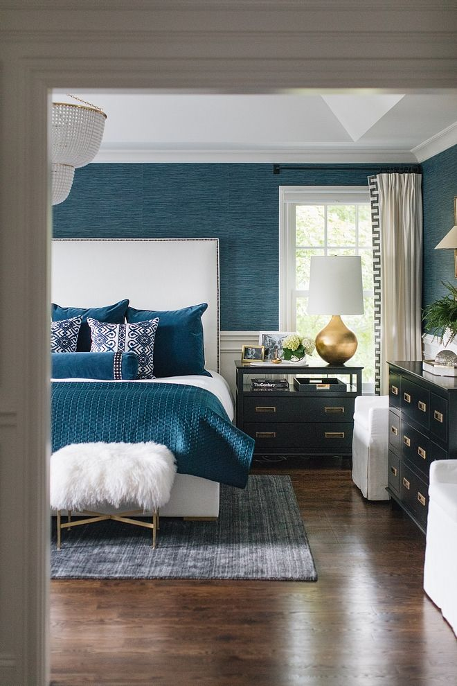 Bedroom With Faux Grasscloth Wallpaper Wainscoting Bedroom With