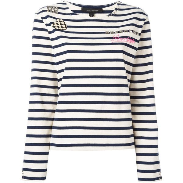 Marc Jacobs Stripped Boat Neck Sweater (€165) ❤ liked on Polyvore featuring tops, sweaters, ecru, round neck sweater, breton sweater, white cotton tops, long sleeve tops and long sleeve sweater