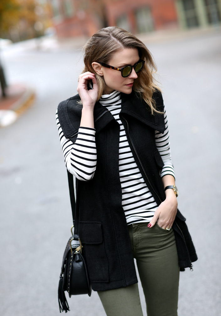 Black sweater vest   striped shirt   olive jeans | Fall Style ...