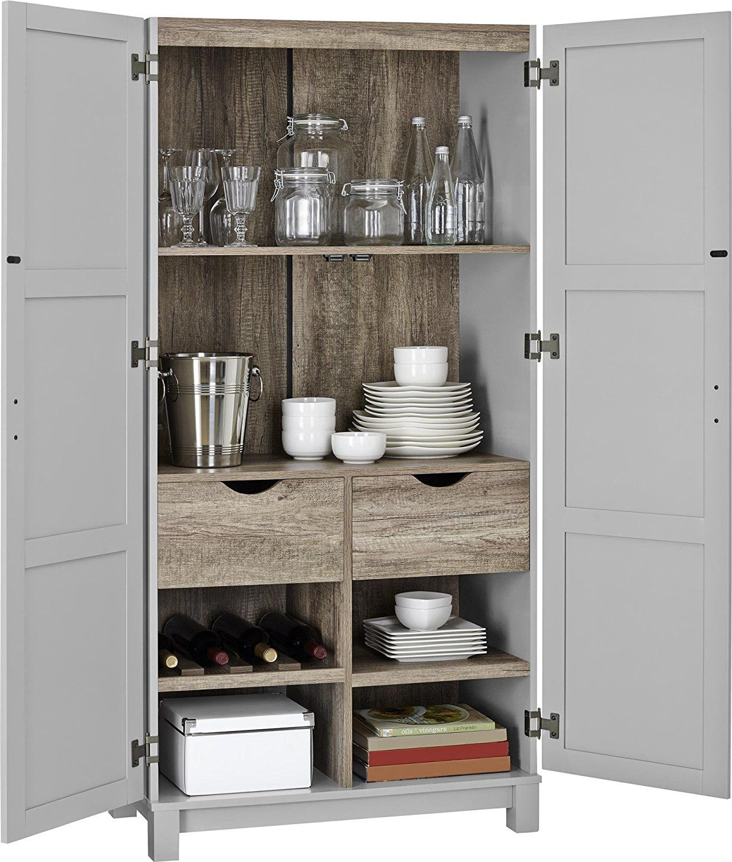 Amazon Com Altra Furniture Altra Carver 64 Quot Storage Cabinet Gray X2f Sonoma Oak Gr Large Storage Cabinets Storage Cabinet Laundry Room Storage Shelves
