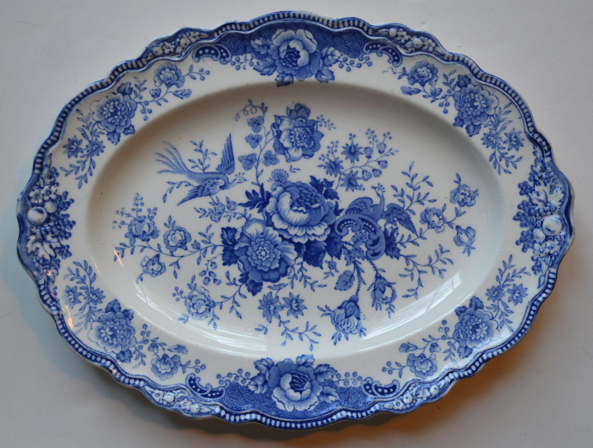 Turkey Sized Vintage Blue White Toile English Transferware Platter Bristol Birds Pheasants And Flowers Roses