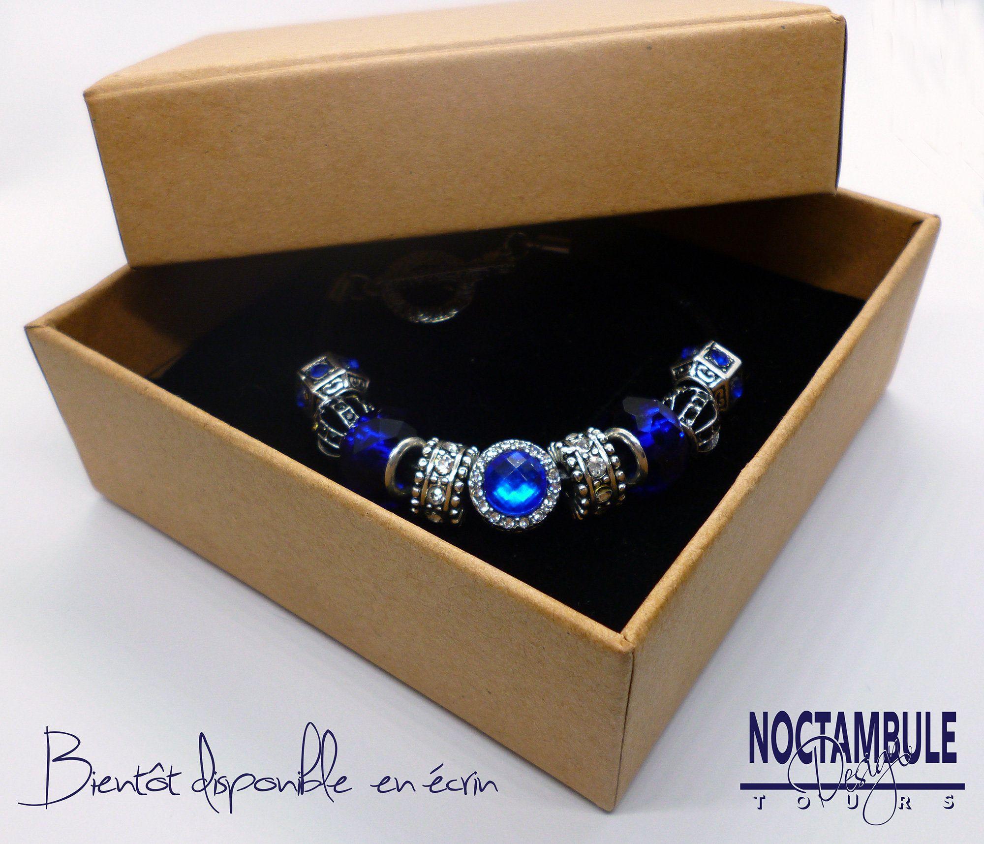 Bracelet de charms type Pandora Caro loves blue cuir noir | Etsy ...