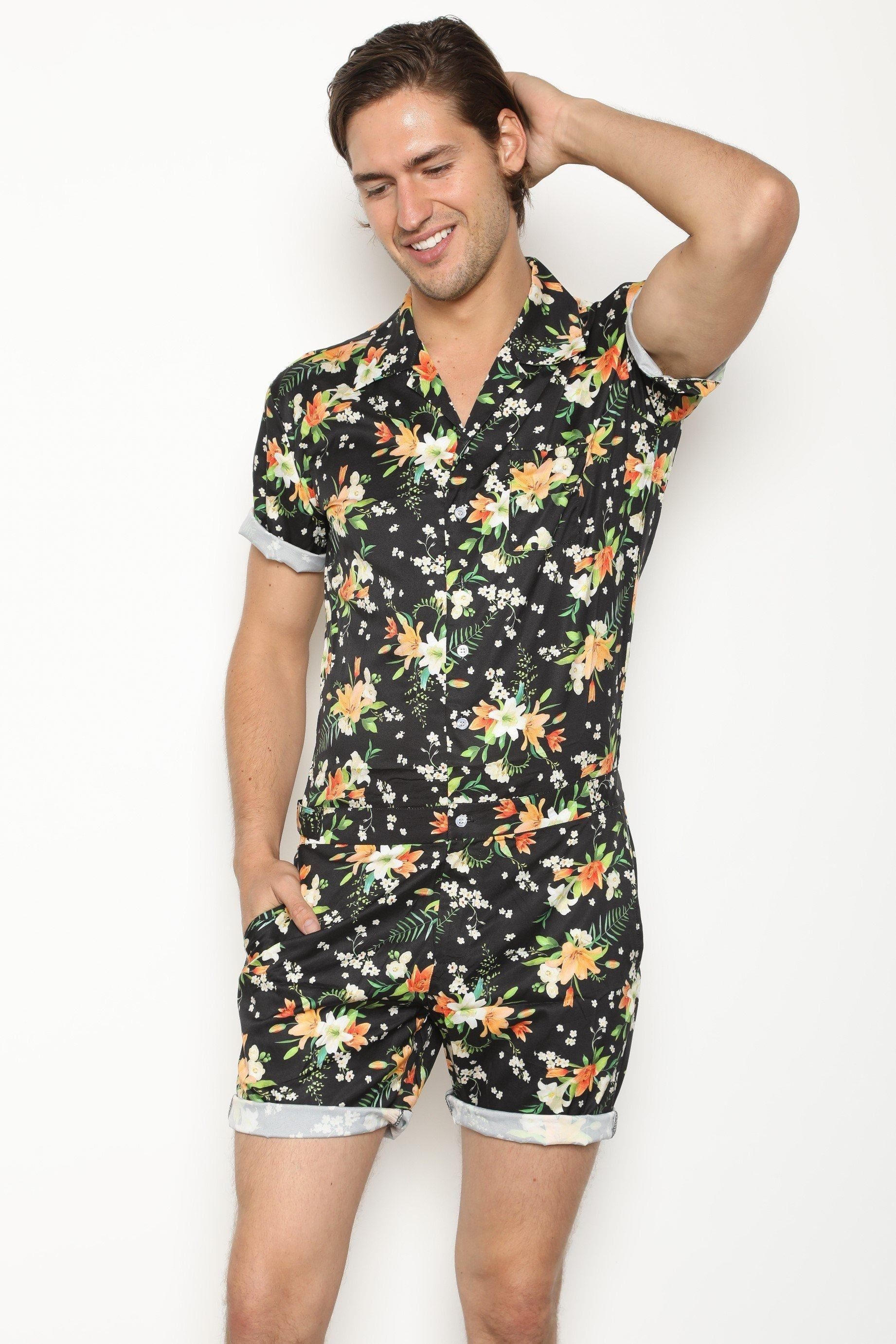 1d2ebc514c99 The Original Male Romper in Tropical Black