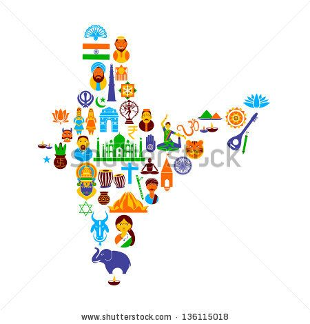 Easy To Edit Vector Illustration Of Indian Map Formed By Different