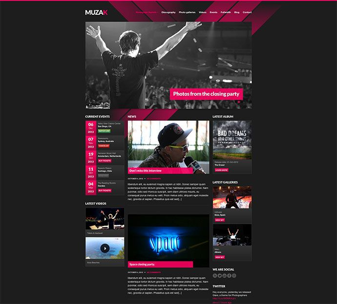 29 Best Html Website Templates For Bands Musicians Web Graphic Design Bashooka Music Website Templates Band Website Website Template
