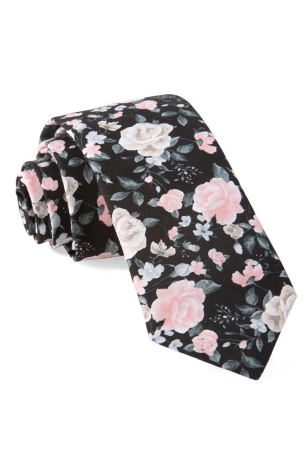 GWS x The Tie Bar Floral Arrangement Tie in Black Green