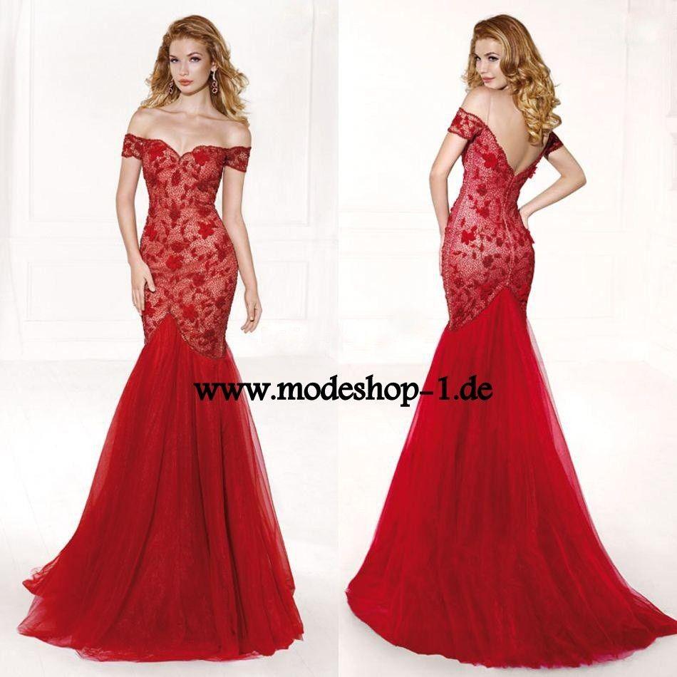 Rotes Schulterfreies Meerjungfrau Abendkleid | Rote Kleider online ...