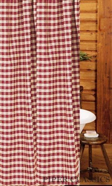 Primitive Barn Star Shower Curtain Red Black Gingham Cotton Farmhouse