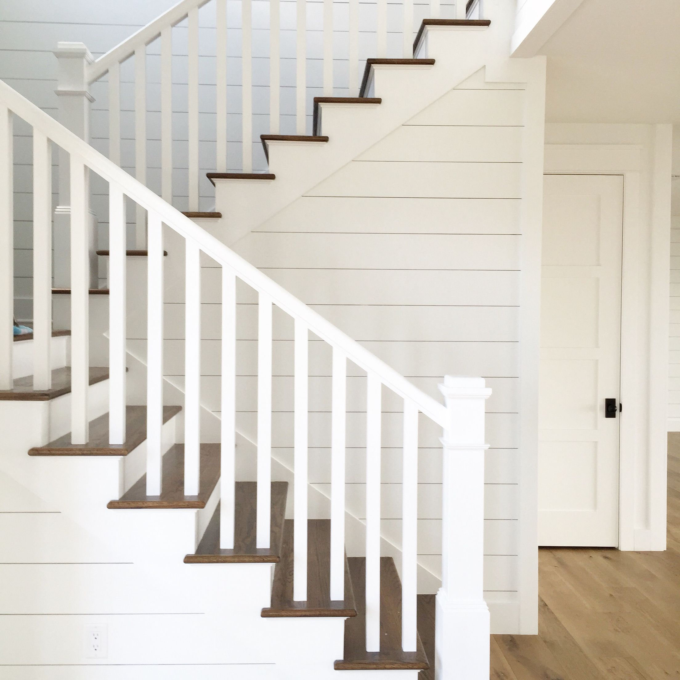 Shiplap Stairs White Oak Flooring Kara Hebert Interiors   Diy Farmhouse Stair Railing   Country Style   U Shaped   Horizontal Bar   Upcycled   Low Cost