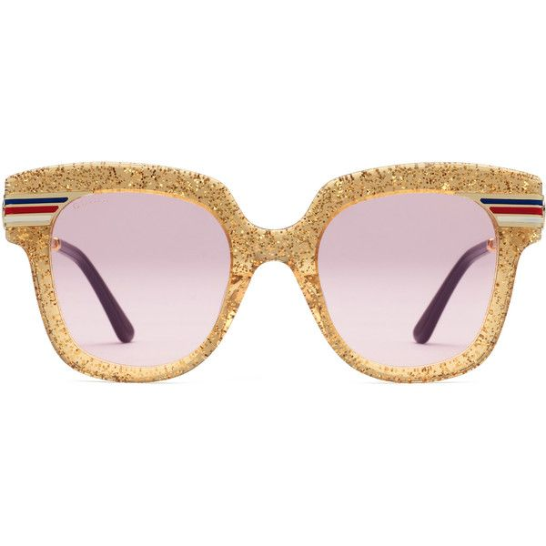 8f3f74871d6 Gucci Square-Frame Glitter Acetate Sunglasses ( 410) ❤ liked on Polyvore  featuring accessories