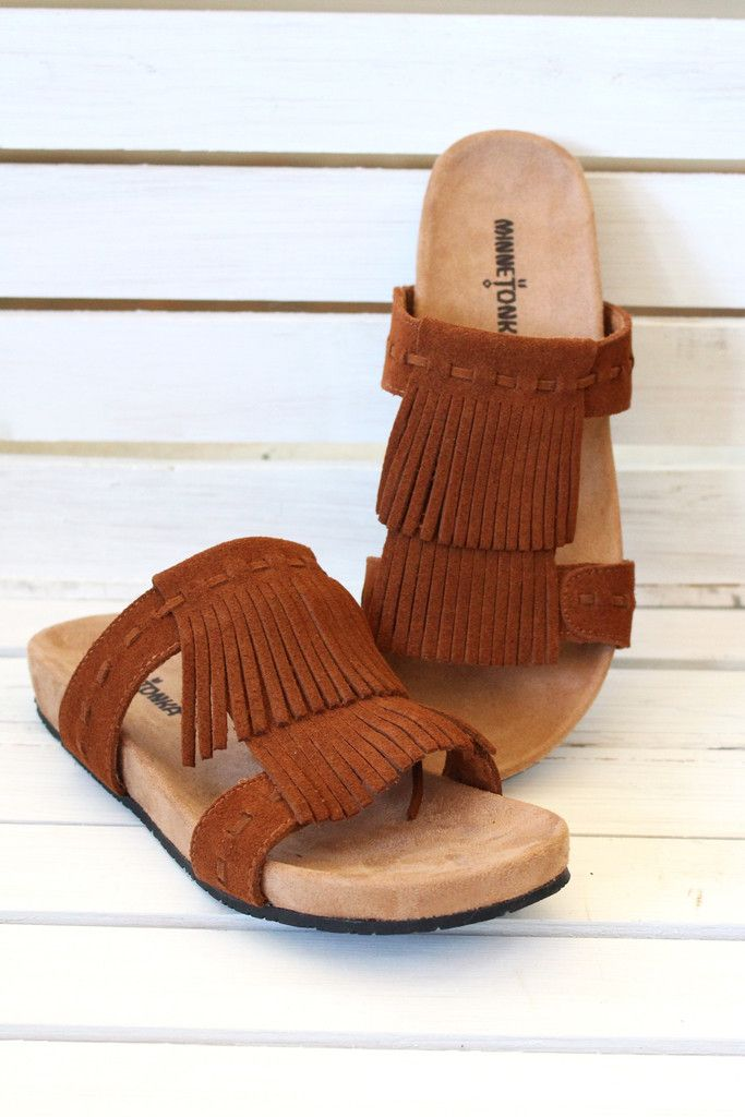 468679a91 Minnetonka  Daisy Slide On Sandals  Brown