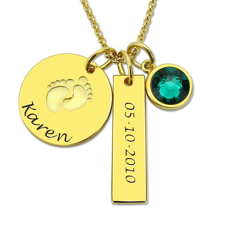 Baby Feet Engraved Name and Date Birthstone Gold Necklace