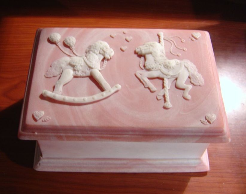 Vintage Pink Carousel Horse Incolay Stone Jewelry Trinket Box