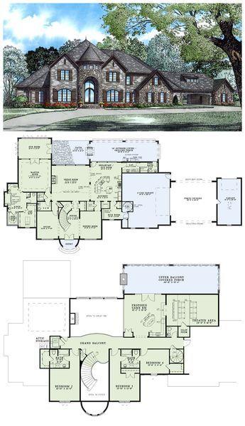 Tudor Style House Plan with 4 Bed 5 Bath 3 Car Garage