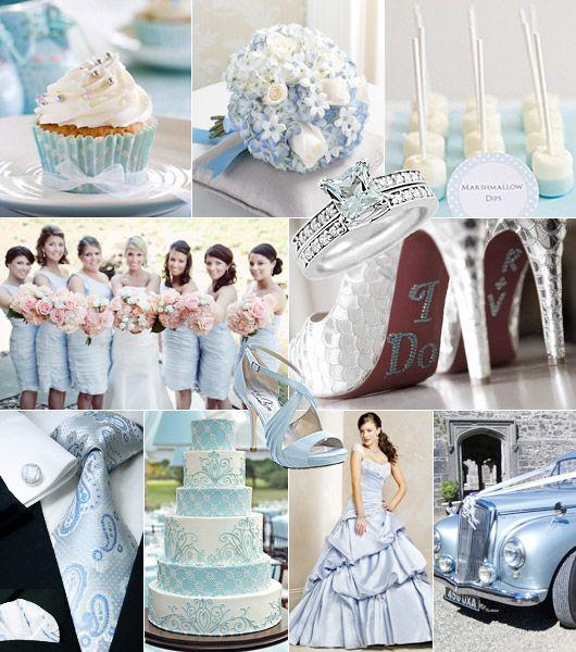 Ljusblått-vitt-silver färgtema på bröllop / Color theme: lightblue ...
