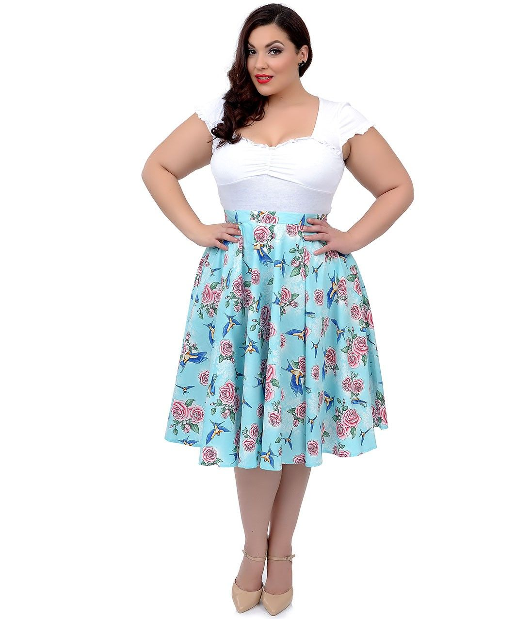 Plus Size Hell Bunny 1950s Style Turquoise Rose & Bird High Waist Lacy Swing Skirt