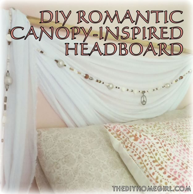 diy sheer canopy inspired swag beaded garland and bamboo wood shells silver gold champagne peace
