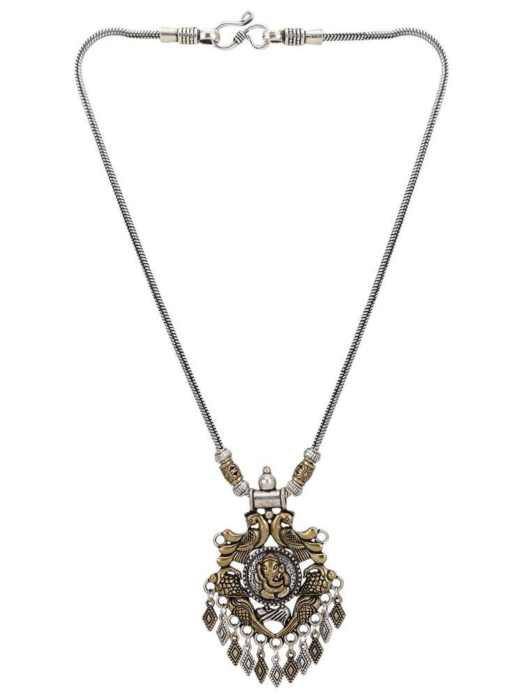 Efulgenz Silver Plated Cubic Zirconia Religious OM Pendant Chain Necklace Jewelry for Women Girls