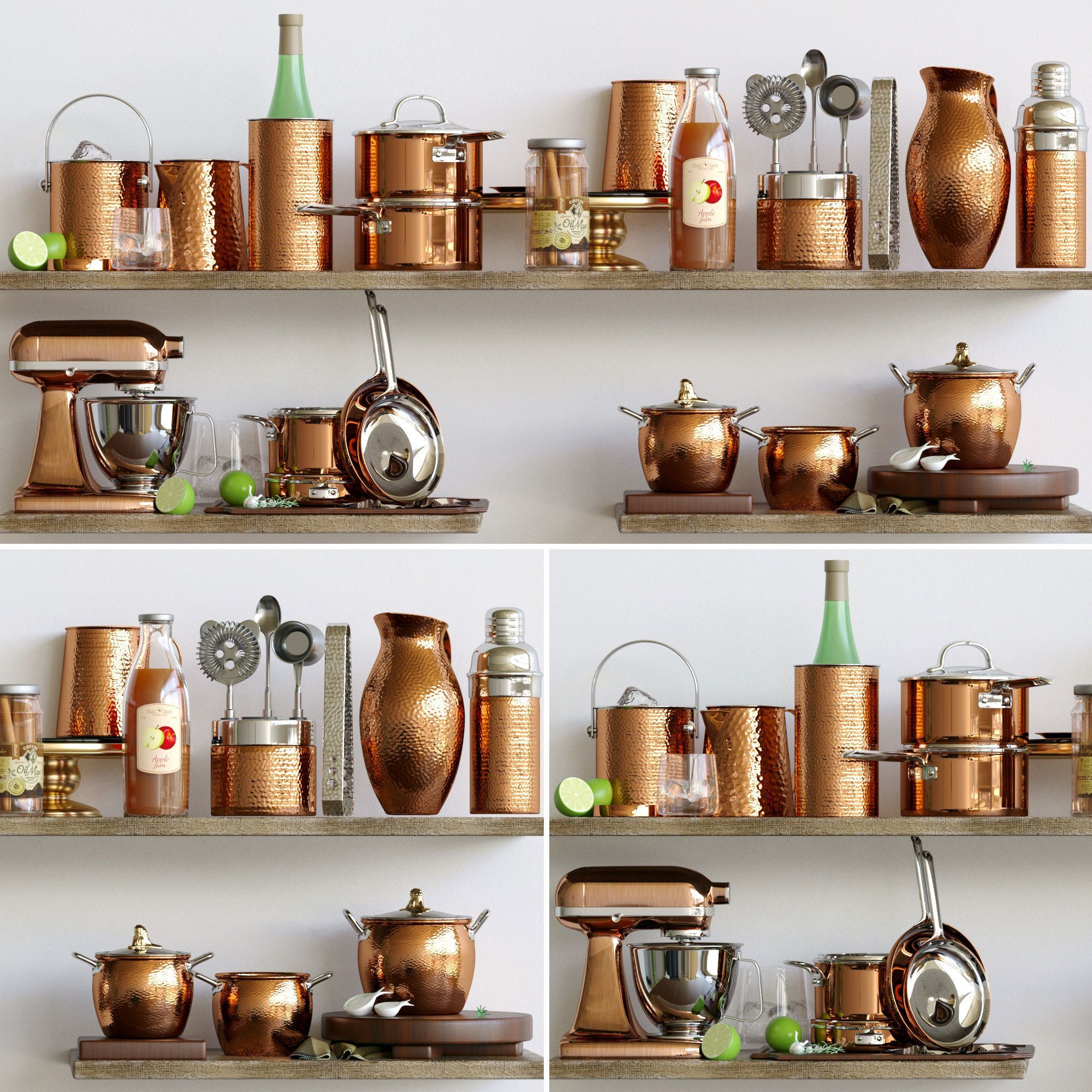 Kitchen set of copper accessories  4D model in 4  Tableware