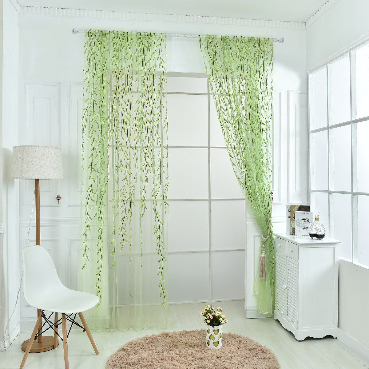 Amazon Com Edal Willow Tulle Voile Door Window Curtain Drape Panel Sheer Scarf Valances Green Home Kitchen Curtains Curtains Living Room Drapes Curtains