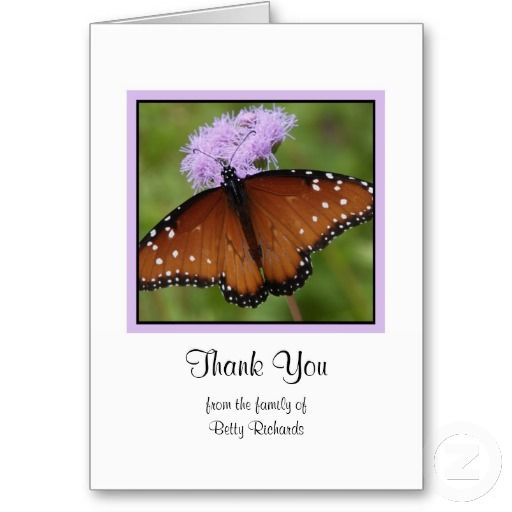 Sympathy Memorial Thank You Note Card - Butterfly Pinterest Note